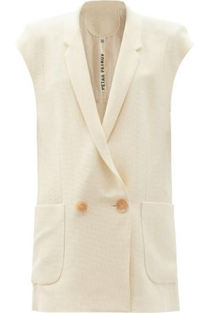 PETAR PETROV Iris Sleeveless Silk-blend Crepe Jacket - Womens - Ivory