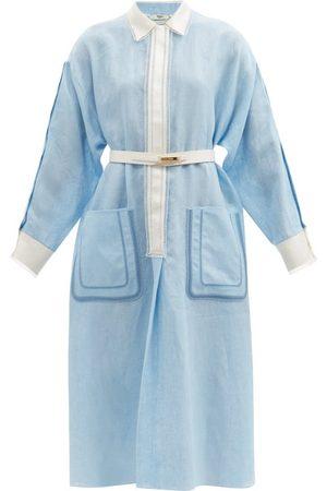 Fendi Ladder-lace Linen Midi Dress - Womens