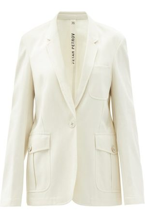 PETAR PETROV Irma Single-breasted Cotton-gabardine Jacket - Womens - Ivory