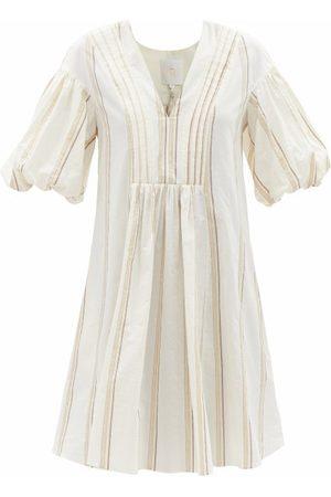 Ssone Women Dresses - Tito Puff-sleeve Striped Cotton-blend Dress - Womens - Ivory Multi