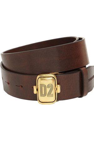 Dsquared2 Men Belts - Leather Belt W/ D2 Plaque