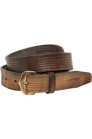 Dsquared2 Men Belts - Leather Crust Belt W/ Old Brass Buckle