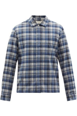 Folk Men Casual - Patch Check Cotton-twill Shirt - Mens - Multi