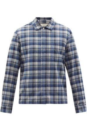 Folk Men Shirts - Patch Check Cotton-twill Shirt - Mens - Multi