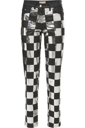 MATÉRIEL by Aleksandre Akhalkatsishvili Women Leather Pants - Check Faux Leather Straight Pants