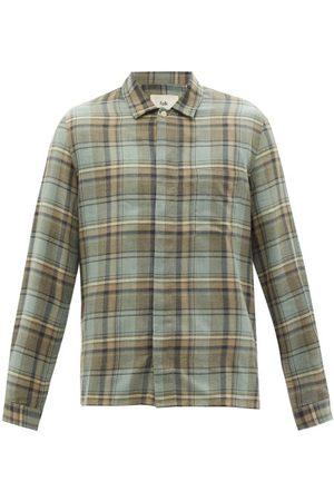 Folk - Patch Check Cotton-twill Shirt - Mens - Khaki Multi