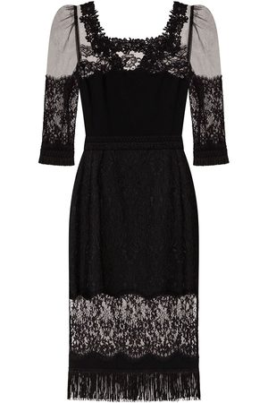 Dolce & Gabbana Lace-panel square-neck dress