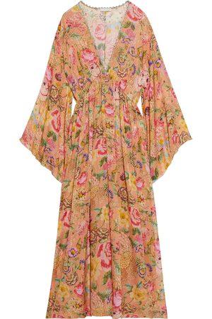 ANJUNA Woman Renata Floral-print Burnout Metallic Silk-blend Chiffon Kaftan Peach Size L