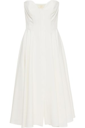 SARA BATTAGLIA Women Strapless Dresses - Woman Strapless Gathered Cady Midi Dress Size 36