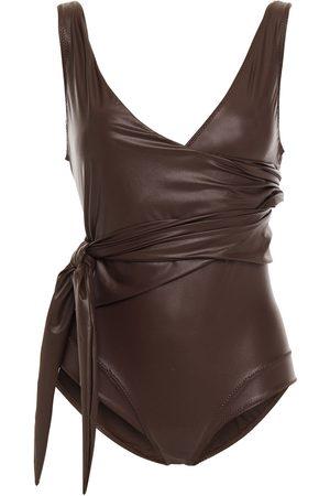 Lisa Marie Fernandez Women Swimsuits - Woman Dree Louise Wrap-effect Swimsuit Dark Size 1
