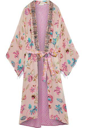 ANJUNA Woman Lina Paneled Printed Crepe De Chine Kimono Blush Size L