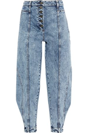 ULLA JOHNSON Woman Brodie Acid-wash High-rise Tapered Jeans Mid Denim Size 0
