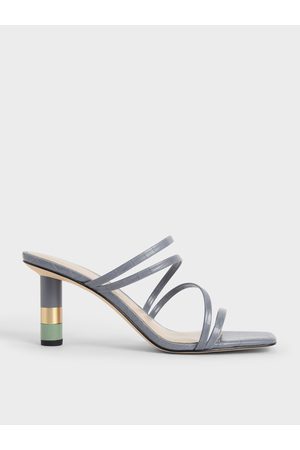CHARLES & KEITH Croc-Effect Cylindrical Heel Mules