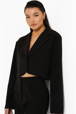Boohoo Womens Relaxed Fit Tailored Cropped Blazer - - 4
