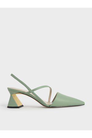 CHARLES & KEITH Asymmetric Strap Geometric Heel Pumps