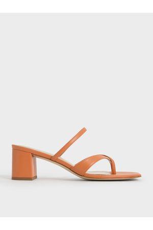 CHARLES & KEITH Women Heeled Sandals - Block Heel Toe Loop Sandals