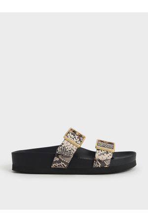 CHARLES & KEITH Snake Print Buckle Strap Slide Sandals