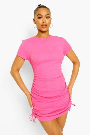 Boohoo Womens Ruched Detail Rib Dress - - 4