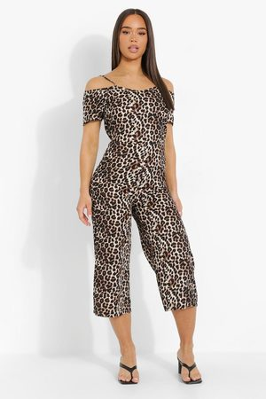 Boohoo Womens Leopard Cold Shoulder Cullotte Jumpsuit - - 4