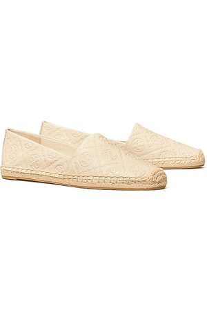 Tory Burch Women Loafers - Women's T Monogram Embossed Leather Espadrille Loafers