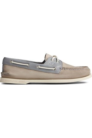 Sperry Top-Sider Men Loafers - Men's Sperry Authentic Original 2-Eye Tumbled Leather Nubuck Boat Shoe Grey, Size 7M