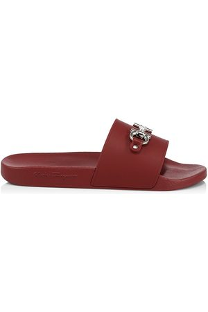 Salvatore Ferragamo Men's Groove Gancini Pool Slides - Rouge Ferragamo - Size 14 Sandals