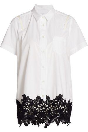 SACAI Women's Poplin & Lace Shirt - - Size Medium