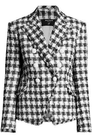 Balmain Women's Gingham Tweed 6-Button Jacket - Gab Blanc Noir - Size 10