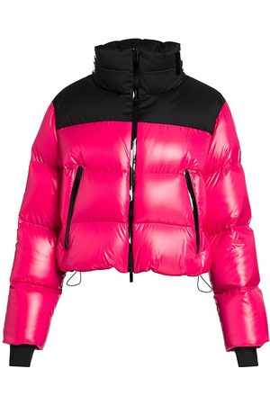 Moncler Women's Jasione Shiny Nylon Cropped Logo Collar Down Quilted Jacket - - Size 1