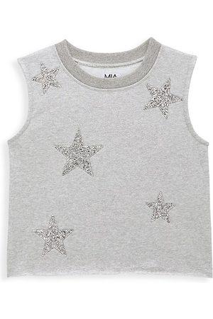 MIA NEW YORK Girl's Star Sleeveless Sweatshirt - Heather Grey - Size 12