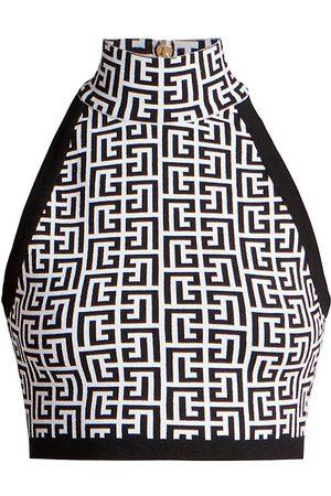 Balmain Women's Cropped Sleeveless Glitter Monogram Top - Gab Blanc Noir - Size 12