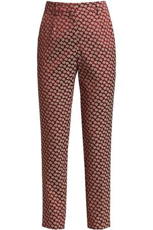 Etro Women's Silk Foulard Geometric Trousers - Bordo - Size 6