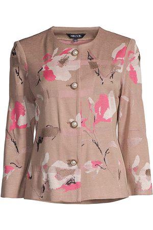 Misook Women's Faux Pearl-Button Floral Jacquard Knit Jacket - Macchiato - Size Small