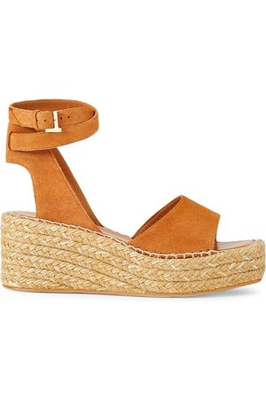 Lafayette 148 New York Women's Margot Suede Espadrille Platform Wedge Sandals - Copper - Size 40