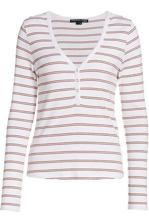 VERONICA BEARD Women's Tal Striped Long-Sleeve Henley - - Size Small