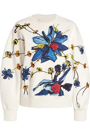 Jason Wu Women's Embroidered Crewneck Sweatshirt - Chalk Multi - Size Large