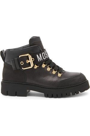 Moschino Women's Leather Ankle Combat Boots - - Size 8