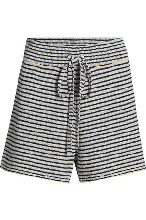 A.L.C. Women's Billie Stripe Rib-Knit Shorts - Wheat Rain - Size XL