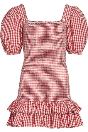 by Ti Mo Women's Gingham Smocked Mini Dress - Checks - Size Large