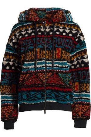 Etro Women's Geometric Ribbons Zip-Up Hooded Fleece Sweater - - Size 10