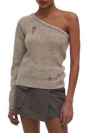 Helmut Lang Women's Distressed One-Shoulder Knit Top - Sandstorm - Size Large