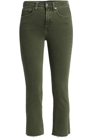 VERONICA BEARD Women's Carly High-Rise Kick Flare Jeans - Olive Stone - Size 26