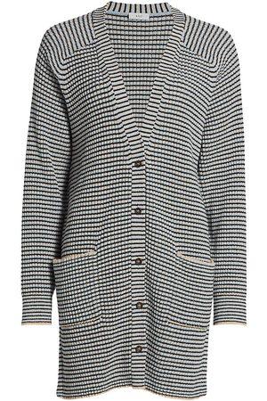 A.L.C. Women's Caspian Stripe Rib-knit Cardigan - Wheat Rain - Size Small