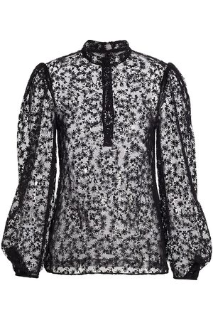 Jason Wu Women's Floral-Embroidered Tulle Blouse - - Size 8