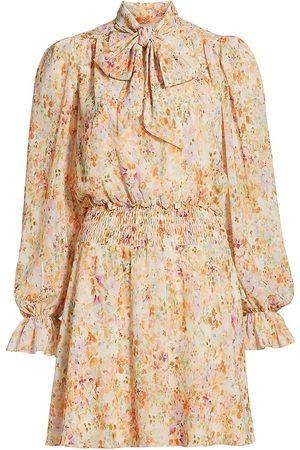 Ml Monique Lhuillier Women's Printed Chiffon Mini Dress - Enchanted Garden - Size 6