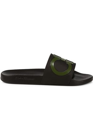 Salvatore Ferragamo Men's Groove Gancini Pool Slides - Nero - Size 12 Sandals