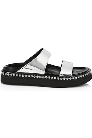 Giuseppe Zanotti Women's Embellished Metallic Leather Platform Slide Sandals - - Size 11