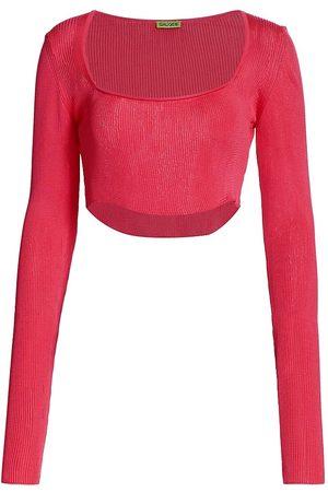 GAUGE81 Women's Kama Ribbed Cropped Top - Fuschia - Size Medium