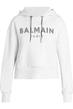 Balmain Women's Cropped Strass Logo Hoodie - Gab Blanc Noir - Size XS