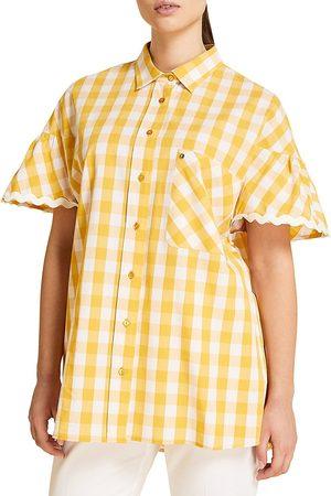 Persona by Marina Rinaldi Women's Filato Gingham Flutter Short-Sleeve Shirt - - Size 16W